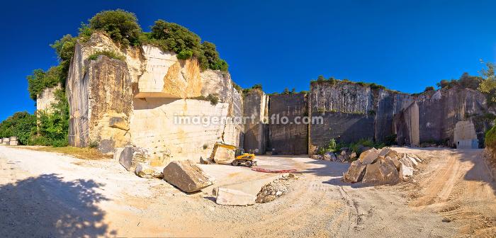 Historic Roman quarry Cave Romanae in Vinkuran panoramic view