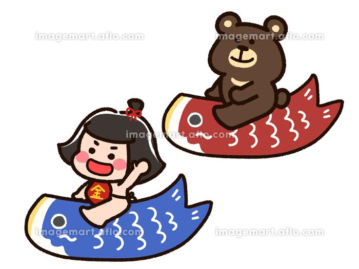 こいのぼりに乗った金太郎と熊の販売画像