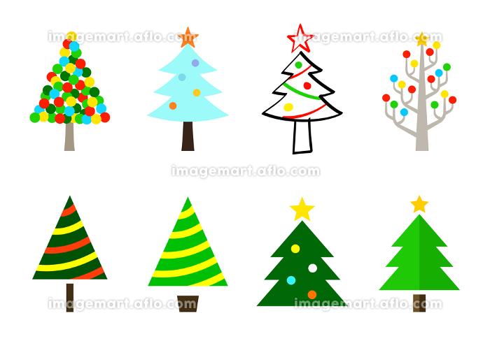 クリスマスツリーのイラスト デザイン バリエーションの販売画像