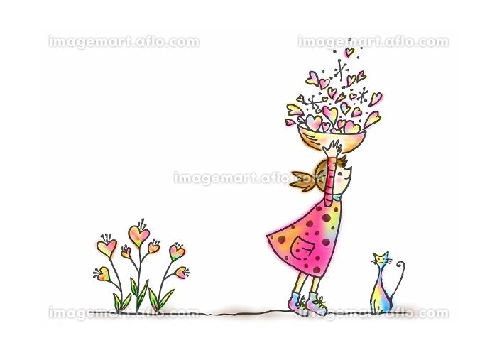 子供 女の子 ネコ 花