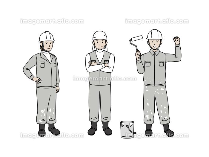 塗装職人 塗装工 ペンキ屋 親方 男性 労働者 全身 イラスト素材の販売画像