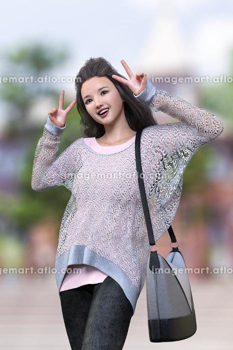 観光地の建物の前でざっくり編みのニットとジーンズを着た前髪をあげている黒のロングヘアの女の子が両手でピースサインをしているの販売画像