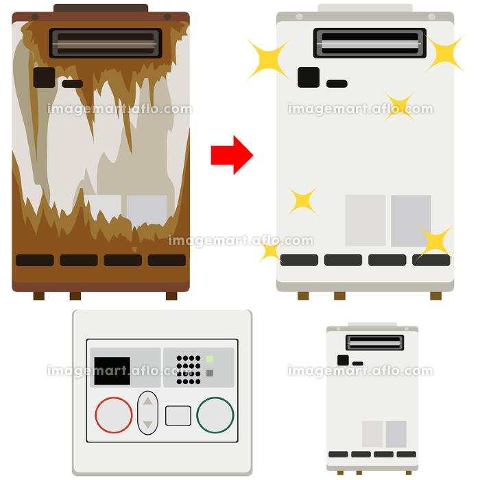 イラスト素材 給湯器 ガス お湯 家電 錆び 錆 交換 アイコン ベクターの販売画像