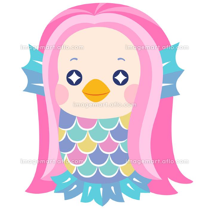 妖怪アマビエのポップな可愛いイラスト 微笑むの販売画像