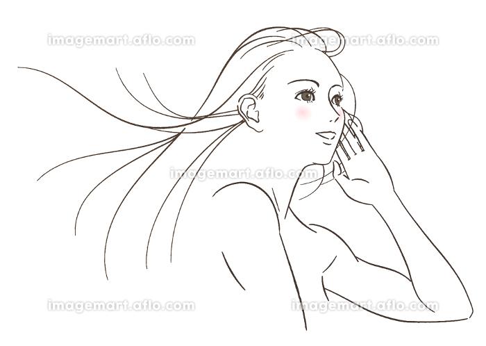風で髪がなびく女性 -線画-の販売画像