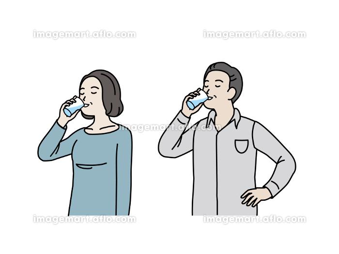 水を飲む中高年の夫婦 水分補給 男女 ミドル イラスト素材の販売画像