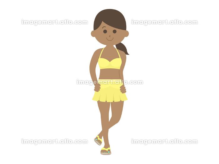 日焼けした水着女性のイラストの販売画像