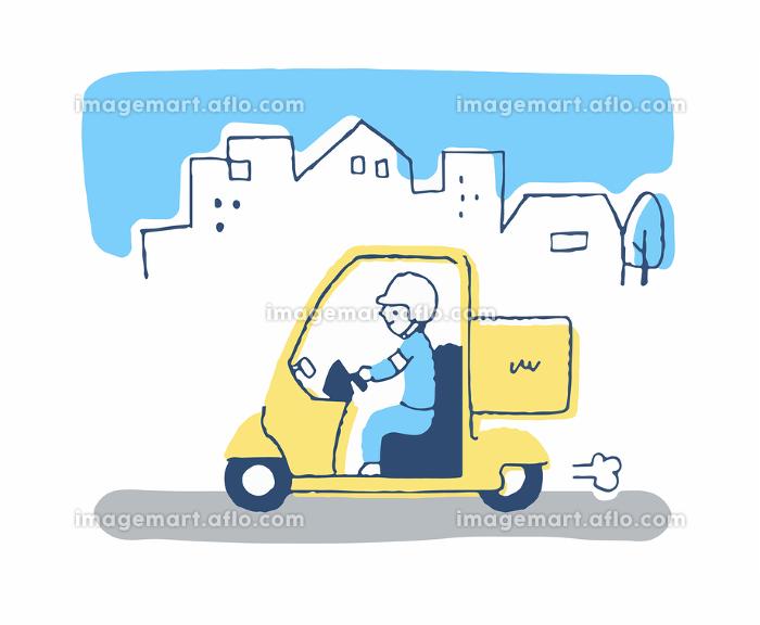 町を走るデリバリーサービスカーの販売画像
