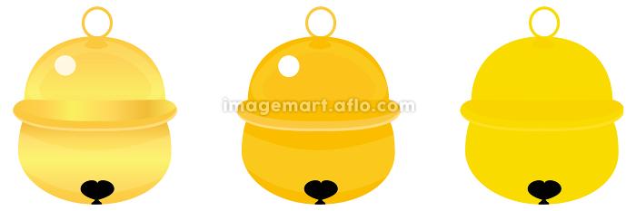 イラスト素材 鈴 鐘 すず 飾り 黄金 年賀状素材 ベクターの販売画像