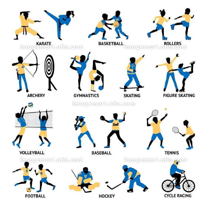 Set Of Sportsmen Silhouettes. Set of sportsmen silhouettes involving in different games and activities isolated vector illustrationの販売画像