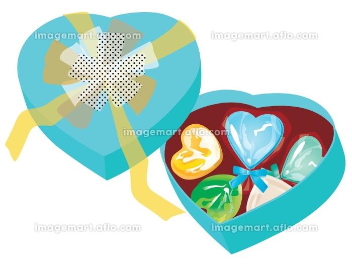 ホワイトデーのキャンディーとチョコとハート型の箱 青の販売画像