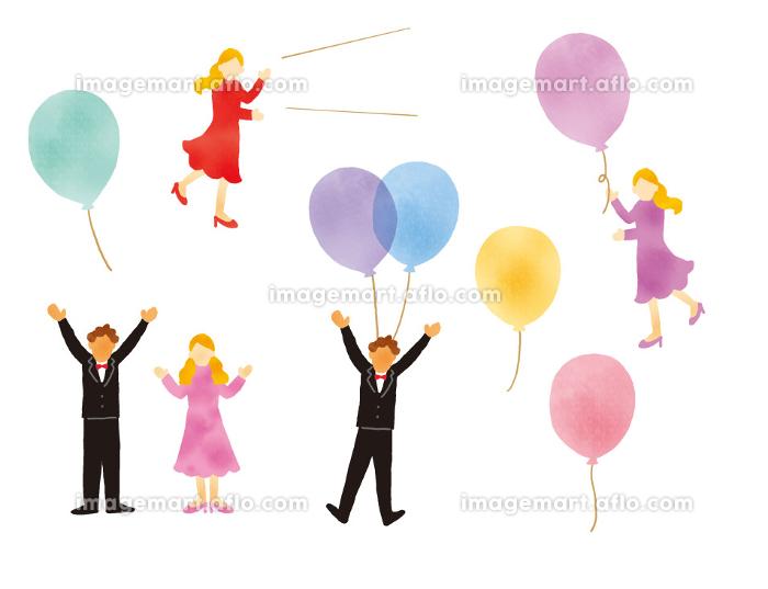 風船とおしゃれな人物のイラストレーションセットの販売画像