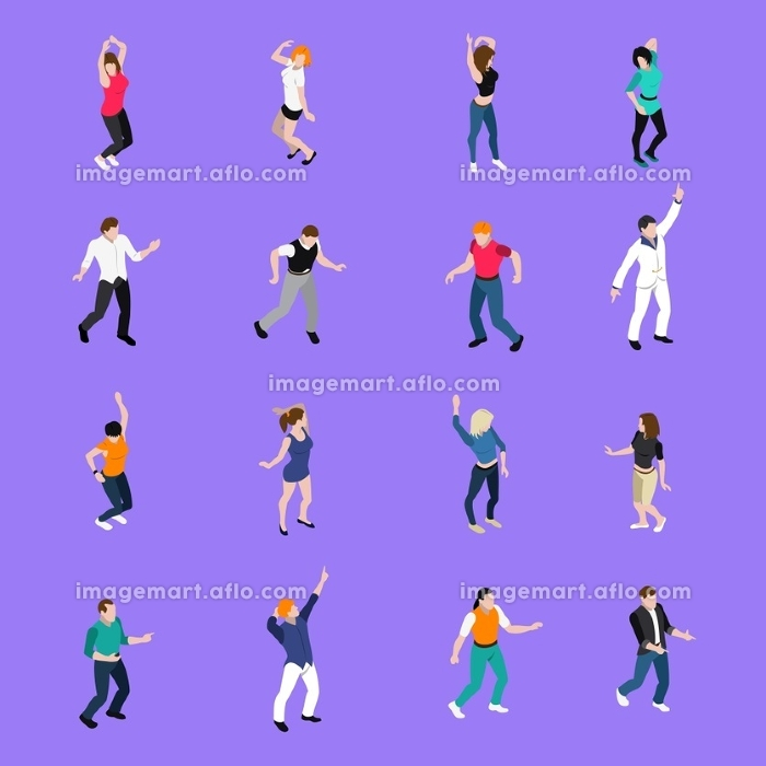 Dancing People Movements Isometric Icons collection . Moving to the beat in dance club people   isometric icons collection with purple background isolated vector illustration