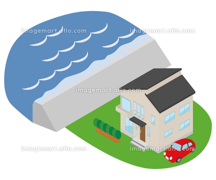 高潮が起きて堤防を海水が超えているイラストの販売画像