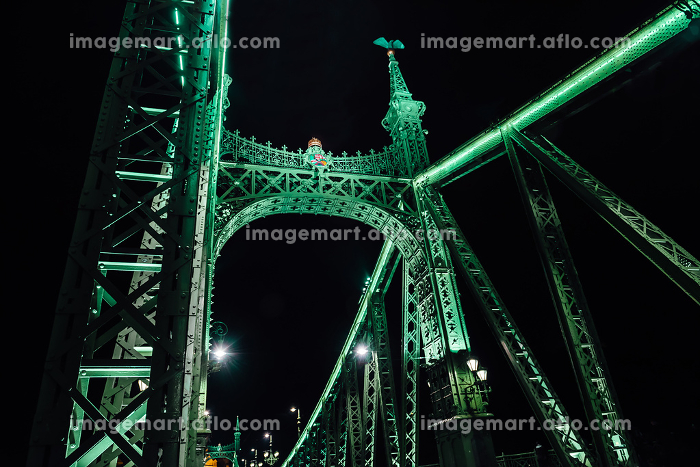 Old Iron Bridge across the Danube River in Budapestの販売画像