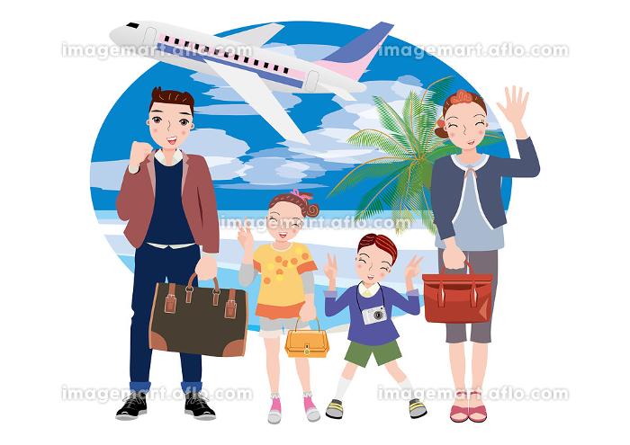 飛行機に乗って旅行に出かける夫婦と姉弟の販売画像