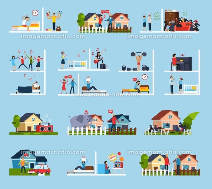 Conflicts With Neighbors Icons Set . Conflicts with neighbors icons set with noise symbols flat isolated vector illustration