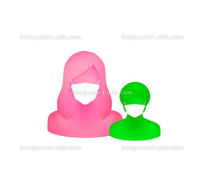 マスクをした抽象的・立体的な人物シルエットイラスト(上半身) /母と息子・お母さんと子供の販売画像