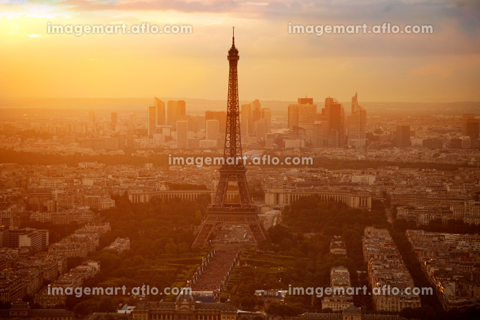 Eiffel Tower in Paris aerial sunset at France