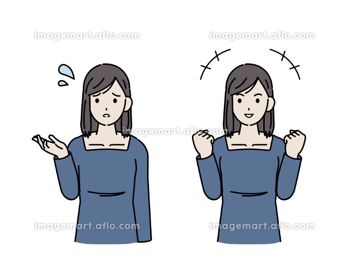 若い女性 困るポーズ ガッツポーズ 上半身 イラスト素材の販売画像