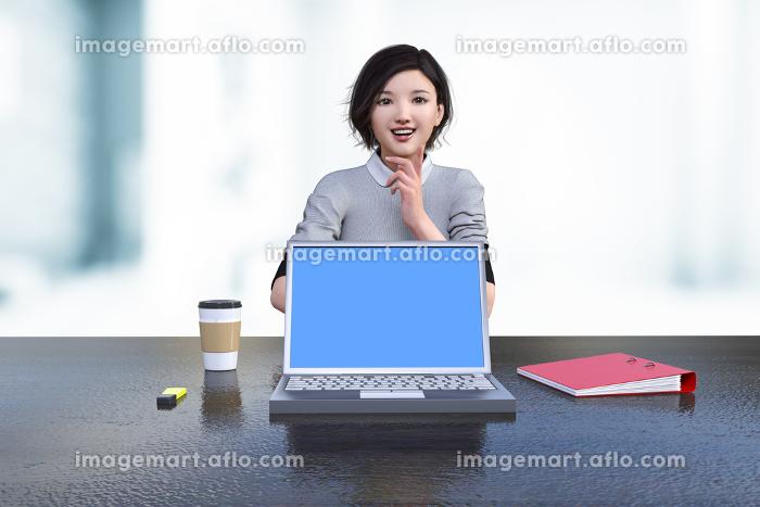 明るくて開放感のあるカフェテラスでノートパソコンを置き資料の相談をする女性社員