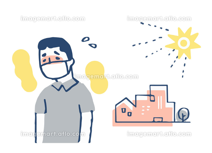 マスクをして暑い人の販売画像