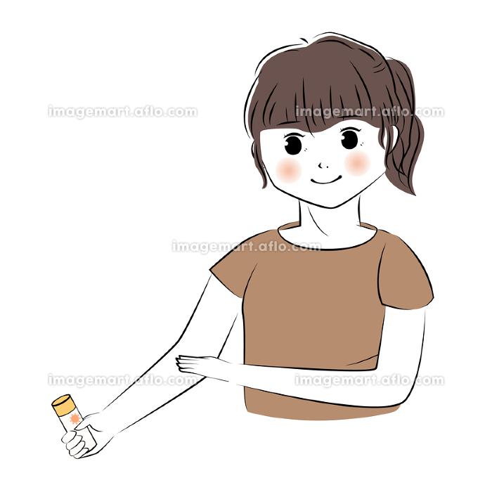 日焼け止めを腕に塗る女性のイラスト(上半身)の販売画像