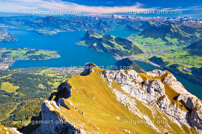 Lake Luzern and Alps mountain peaks aerial view from Mount Pilatusの販売画像