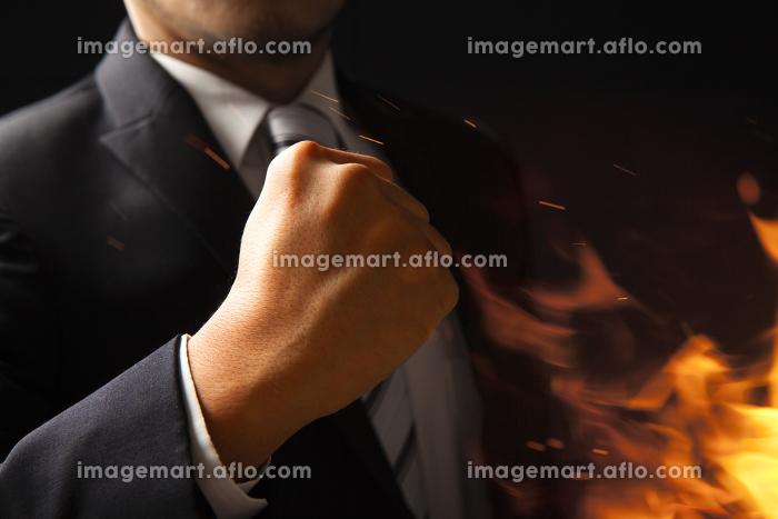 ガッツポーズするビジネスマンの販売画像
