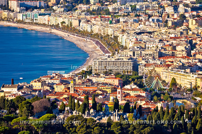 City of Nice and Promenade des Anglais waterfront aerial viewの販売画像