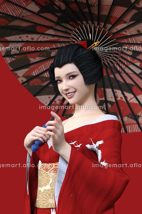 赤い背景に黒髪を結い上げた芸者が赤い着物を着て和柄の和傘をさして笑顔でこちらに目線を向けている