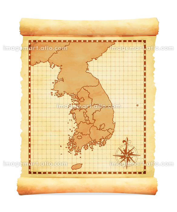 色褪せて丸まった古地図ベクターイラスト / 韓国(行政地区)の販売画像