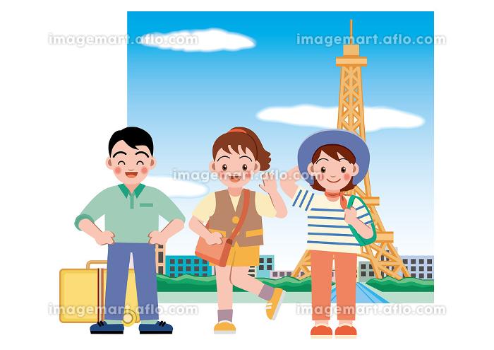 女性二人と男性一人で旅行の販売画像