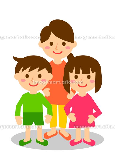母子 3人 全身の販売画像
