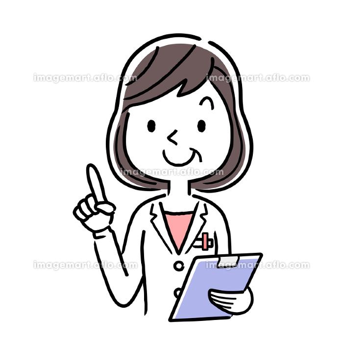 ベクター素材:笑顔の中年女性医師の販売画像