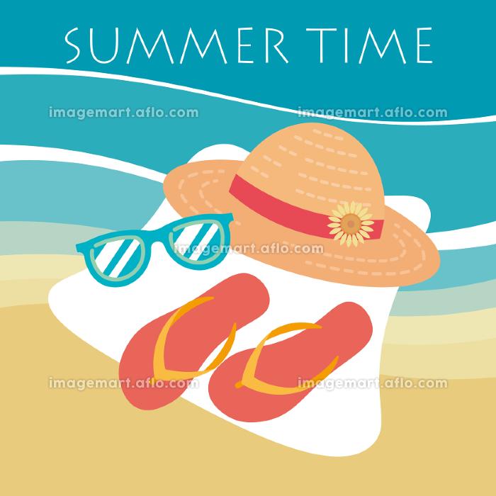 夏のファッションアイテム、麦わら帽子とサングラスとサンダル、ビーチの背景の販売画像