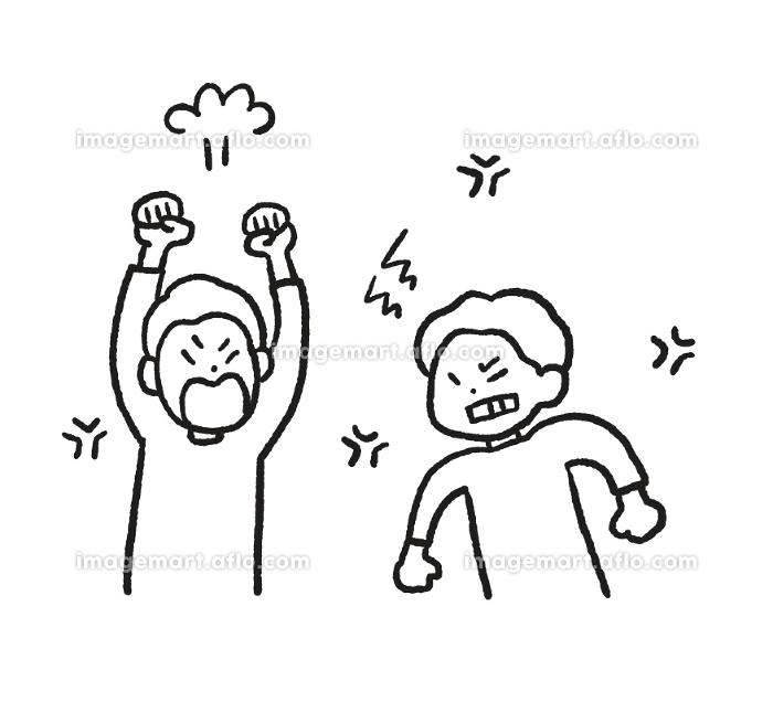 兄弟喧嘩の線画イラストの販売画像