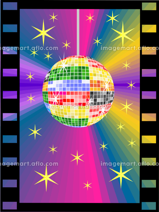 Colorful disco ball in the film stripの販売画像