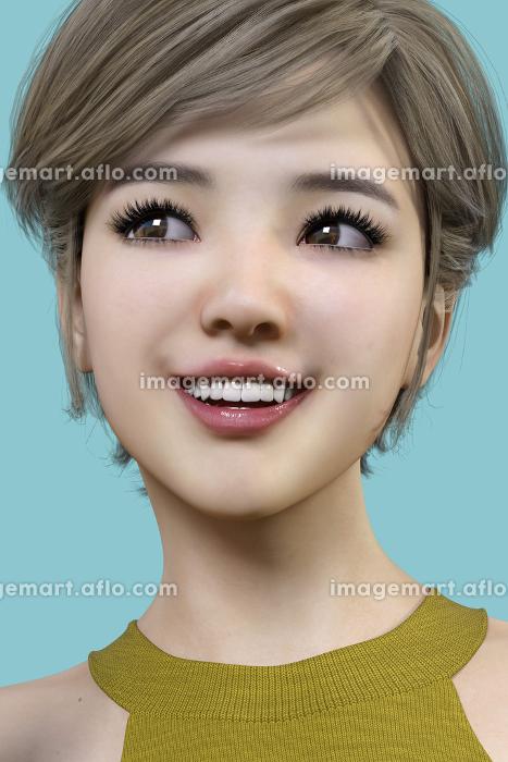 笑顔の日本人女性が正面を向き目線を左に向けている顔をズームアップしている