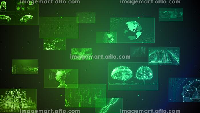 デジタル ネットワーク テクノロジー AI 人工知能 データ 通信 システム 情報 3D イラストの販売画像