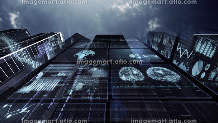 スマートシティ 人工知能 監視社会 都市 ネットワーク テクノロジー 3D イラストの販売画像