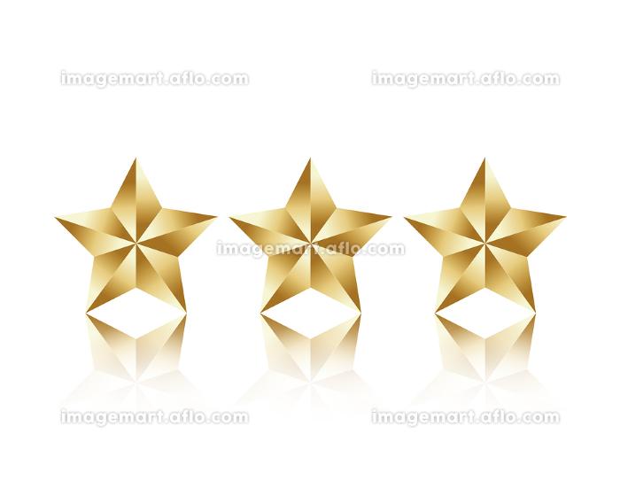 金色の三つ星アイコンのベクターイラストの販売画像