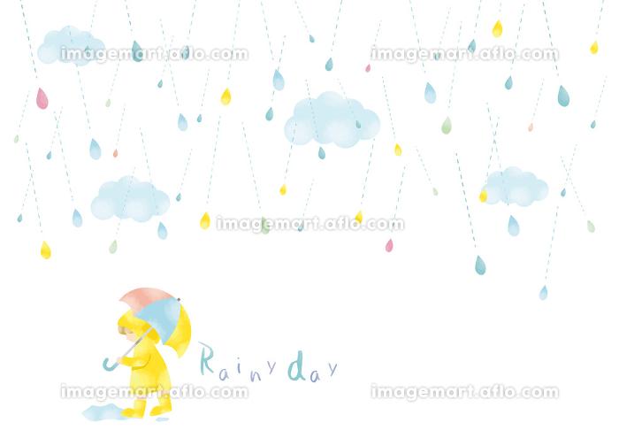雨:かわいい 雫 雨粒 粒 雨天 梅雨 6月 7月 天気 小雨 水彩 しずく 水 フレーム 枠の販売画像