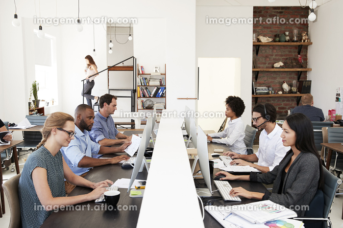 Business colleagues working at a busy open plan officeの販売画像