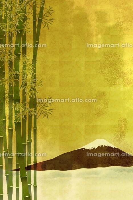 富士山と竹林 イラストの販売画像