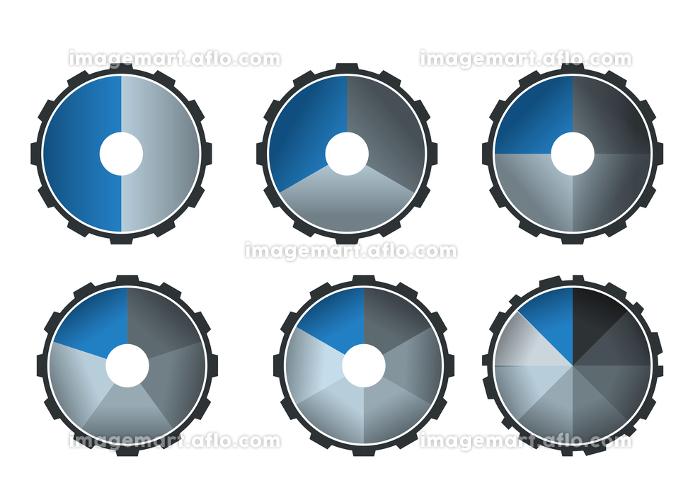 円グラフアイコンセット歯車ギアのインフォグラフィックスイラスト アイコン コンセプト工業産業ビジネスの販売画像
