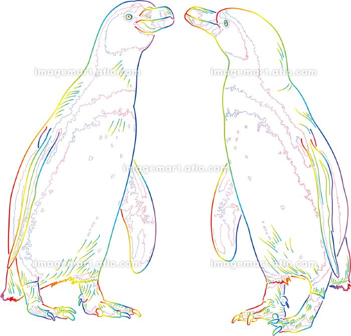 虹色のドローイング ペンギンのカップルの販売画像