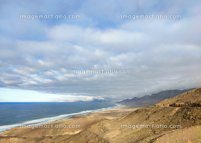 Cofete beach view from above. Fuertventura, Canary island, Spain.の販売画像