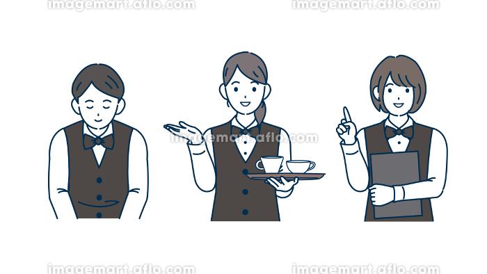 店員 ホールスタッフ ウェイトレス 男女 イラスト素材の販売画像
