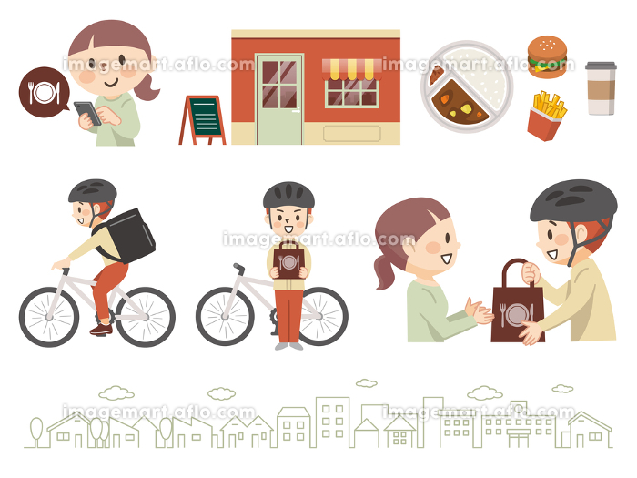 フードデリバリーサービスのイラストレーションのセットの販売画像